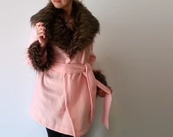 Faux Fur Coat, Womens Clothing, Womens Winter Coats Jackets, Fleece Jacket, Pink with Brown Oversize Collar & Cuffs, Birthday Gift for Her