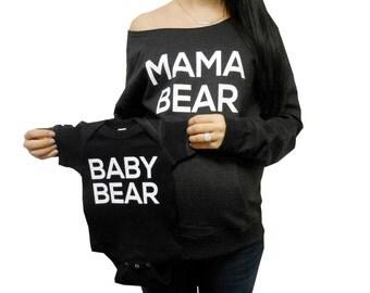 Mama Bear Baby Bear Package, Mommy-and-me-Package, Mommy and me Sweatshirts, Mommy Bear Baby Bear Shirts, Eco-Fleece Sweatshirt and Onesie