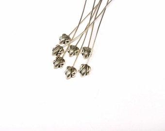 "Sterling Silver Decorative Headpins, 22 GA Sterling Silver Head Pins, 2"", 10 pcs, Earring Findings, Silver pins, Head Pin 22GA"