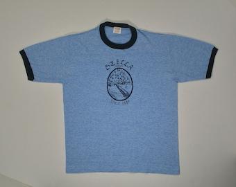 80s Ringer T Shirt triblend tee S/M heather blue tourist travel rayon 70s soft paper thin hipster punk Stella WA washington sportswear