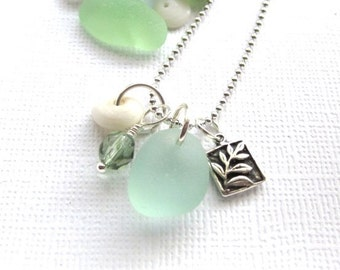 Sea Glass Jewelry Laua e Leaf Necklace