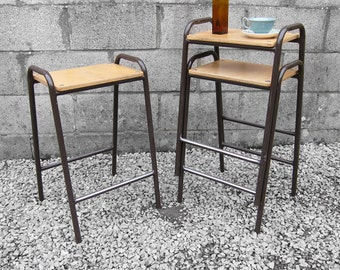 Metal Industrial Lab Stools -  Perfect Kitchen Breakfast Table High Bar Seat