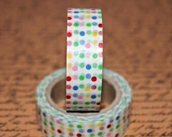 Multicoloured Polka Dot Japanese Washi  - Paper - Masking - Tape - 5 Metres