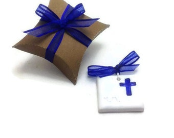 Personalized Boy Cross Favors, Personalized Blue Cross Favors, Baptism Favors with Initials, Boy Baptism Cross Favors, Packs of 10, 20