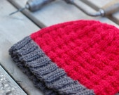 Man's Warm Merino Beanie, Basketweave Textured Red Knit Chunky Wool Hat With Contrast Charcoal Grey Trim