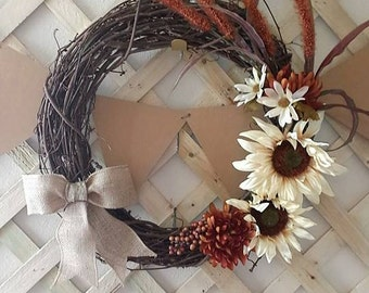 Rustic, Floral and Burlap Wreath