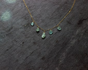 Aquamarine Necklace / Handmade raw crystal jewelry / Gold chain / March Pisces birthstone / Throat Chakra