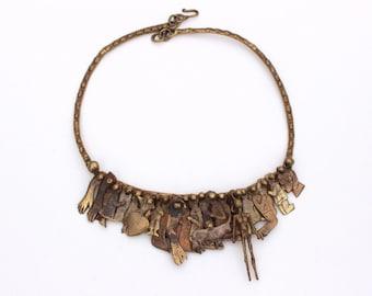 Pal Kepenyes Necklace Mid Century, Brass Brutalist Necklace, Milagro Bib Necklace Ex Voto, Vintage Brass Sculpture Kepenyes, Listed Artist