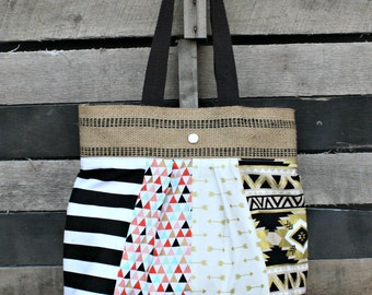 Scrappy Pleated Tote Bag, Everyday Purse, Tribal, Arrows, Metallic, Aztec