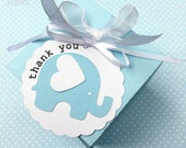 Baby Elephant Thank You tags. Birthday party favors, baby shower thank you gifts, new baby. Pastel blue, white and grey. Text options.