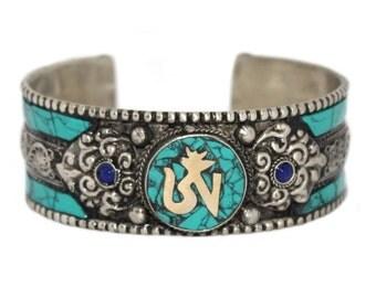 Om Bracelet Turquoise bracelet Nepal bracelet Tibetan bracelet Nepalese Bracelet bohemian bracelet yoga bracelet boho bracelet BB15