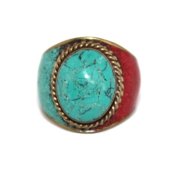 turquoise ring coral ring tibetan ring tibet ring by