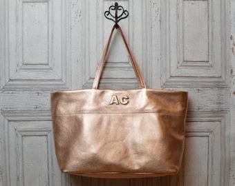 Custom soft leather Tote bag Rosegold metallic / monogrammed / handbag / personalized / market tote bag