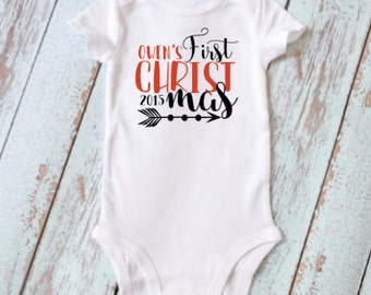 Customizable My First Christmas Bodysuit / 1st Christmas Baby Bodysuit / First Christmas 2016  / Baby Holiday Outfit