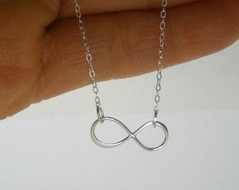 Infinity Jewelry,  Infinity Necklace, Sterling Silver Infinity, Eternity Necklace, Simple Silver Necklace, Minimalist, Trendy Jewelry, Gifts