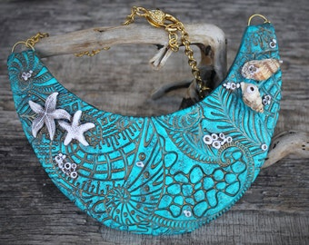 Real seashell bib necklace polymer clay necklace collar necklace artisan jewelry starfish necklace seashell jewelry large turquoise necklace