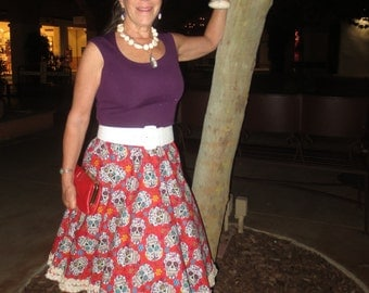 Day of the Dead skirt; skulls; Tucson; Mexican; kitsch;