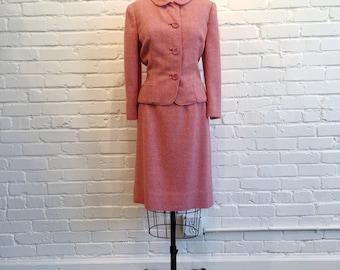 1960s Pink Kayser-Long 2 Piece Set // 60s Pink Tweed Suit // Vintage 1960s Pink Blazer and Skirt