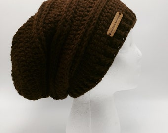 Slouchy Hat   Women's Slouchy Hat   Brown Slouch Hat   Chocolate Slouch Beanie   Woman's Fall/Winter Wear   Ready To Ship   Gift for Her