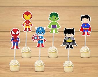 Superhero party - Super hero cupcake toppers set of 24 - Super hero cupcake toppers
