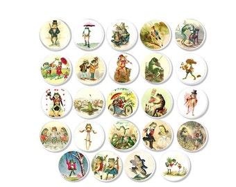 Storybook Frogs Cabinet Drawer Pulls - Vintage Fairytale Illustrations, Baby Nursery Cabinet, Childrens Dresser Knobs, Shower Gift - 816G1