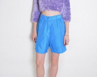 90's blue silk bermuda shorts,  retro shorts size medium, flared shorts, preppy shorts
