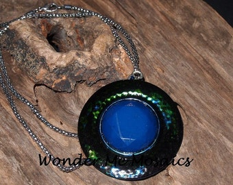 25% SALE  Large Blue/ Green Circle Pendant & Silver Necklace - Alcohol Ink
