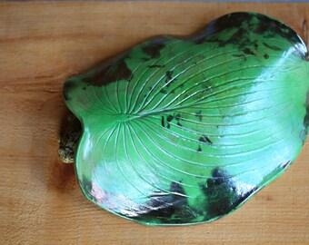 Green Hosta Leaf Toad House Raku for the Garden
