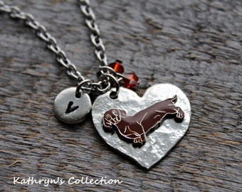 Dachshund Necklace, Dachshund Jewelry, Dachshund Gift, Heart dog Jewelry, Wiener Dog Jewelry
