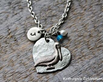 Pelican Necklace, Pelican Jewelry, Pelican Gift, Sea Bird, Beach Jewelry