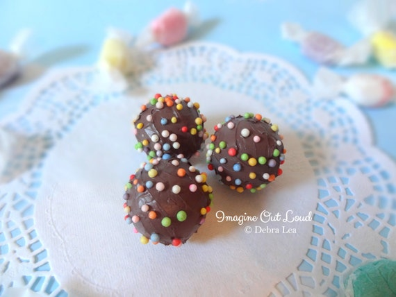 FAUX Fake Milk Chocolate Truffle set Rainbow Sprinkles REALISTIC Kitchen Decor Display