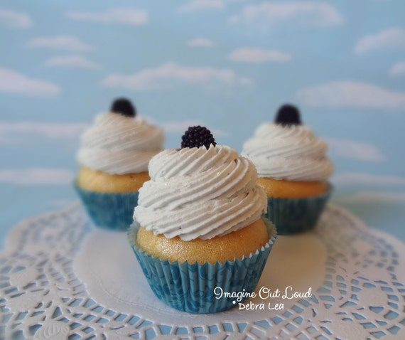 Fake Cupcake Handmade Blackberries and Cream Faux Cake Gourmet Realistic Food Prop Kitchen Display