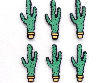 5 pcs - Cartoon Green Cactus Cacti Resin Flatback Cabochon - 46mm - Desert - Kawaii - Decoden - DIY