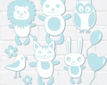 Baby Boy Clip Art Set, It's a Boy, Blue Wild Animals Baby Shower, Birthday Card, Owl Lion Bear Cat Bunny Balloon 9 Digital PNG Files