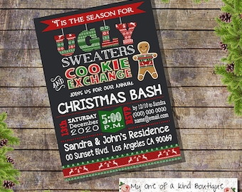 Ugly sweater invitation christmas ugly sweater cookie exchange party invite annual xmas holiday party digital printable invitation 13833