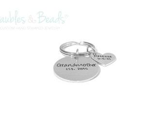 Personalized Grandma Keychain - Hand Stamped Grandmother Gift - Gift for Nana - Custom Keychain - Grandmother Est - New Grandma Announcement