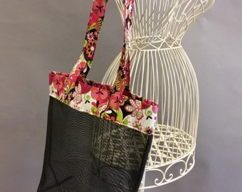 Mesh Tote. Fashionable Pink, Green, Black and White Bag Flowers with Long Shoulder Straps. Project, Market or Beach Bag. From MDS Creative.