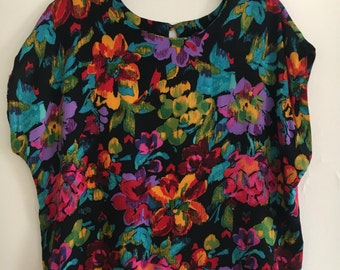 90s Floral Swing Top by Synari size 18 Plus