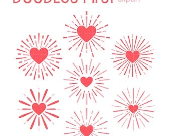 Heart Explosion Set Digital Clip Art for Scrapbooking Card Making Cupcake Toppers Paper Crafts