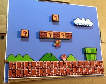 Super Mario Bros Diorama / Shadowbox (framed artwork) NES