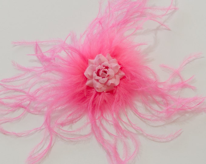 Pink Feather Flower Clip