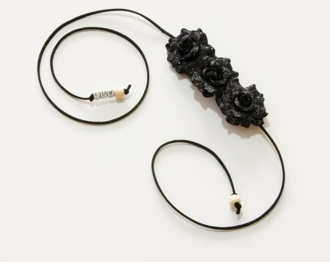 Black Rose Side Flower Crown