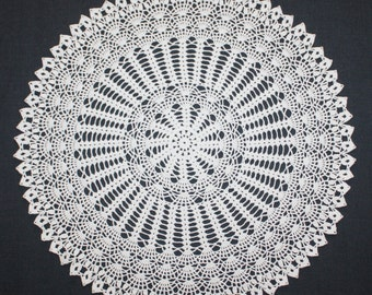 White Crochet Doily, Large Doily, Round Doily, Lace Cotton, Wedding Doily, Lace Tablecloth, Table Topper, 20 inches