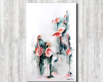ORIGINAL Watercolor Painting of Flamingos, Modern Watercolour Painting Art, Flamingo Painting, Watercolour Bird art