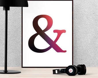Ampersand Symbol Black Red Pink White Typography 8x10 Wall Art Decor Print Digital Download