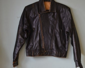 Retro Womens leather jacket size 8 to size 10 Small biker jacket Taylor made