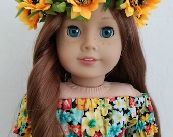 Sunflower Flower Crown for American Girl Dolls