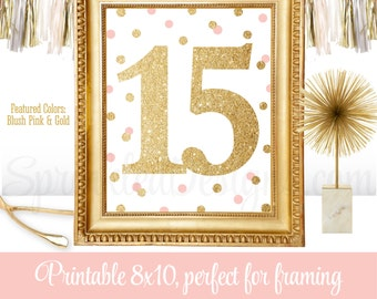 15th Birthday Party Sign - Fifteenth Birthday - Number Fifteen 15 Sign - Blush Pink Gold Glitter - Printable Quinceanera Party Decorations