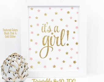 It's A Girl Sign, Twinkle Twinkle Little Star Baby Shower Decorations, Baby Shower Sign, Blush Pink Gold Glitter Printable 8x10 Party Sign