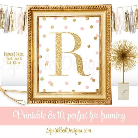 Printable baby girl nursery decor wall art letter r name for Babies r us wall letters